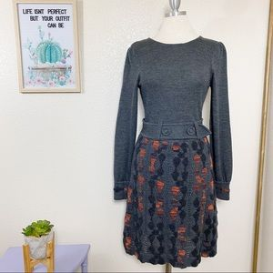 Tibi Sweater Dress Sz M Tribal Print Wool